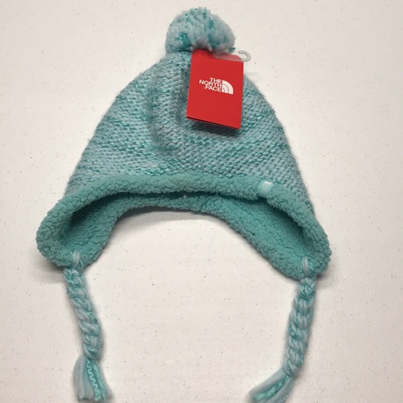 The North Face Other - 🆕 NORTH FACE Blue Fuzzy Pom Pom Winter Hat